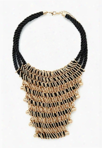 Chained Cord Statement Necklace