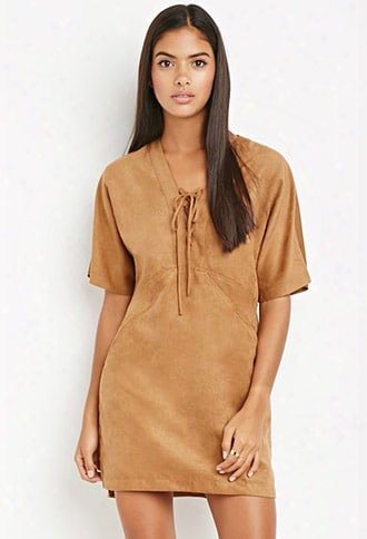 Contemporary Faux Suede Lace-up Dress