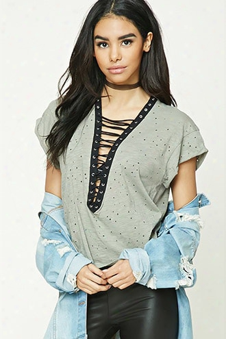 Distressed Lace-up Boxy Top