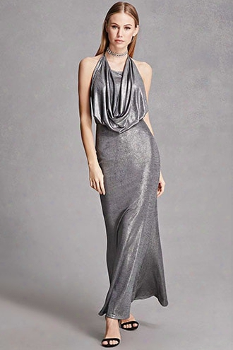Draped Metallic Maxi Dress