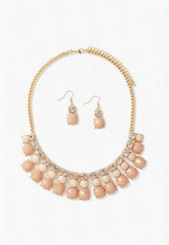 Faux Gem Necklace And Earring Set