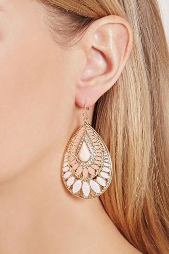 Faux Stone Enamel Drop Earrings