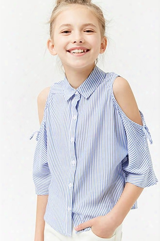 Girls Striped Open-shoulder Shirt (kids)