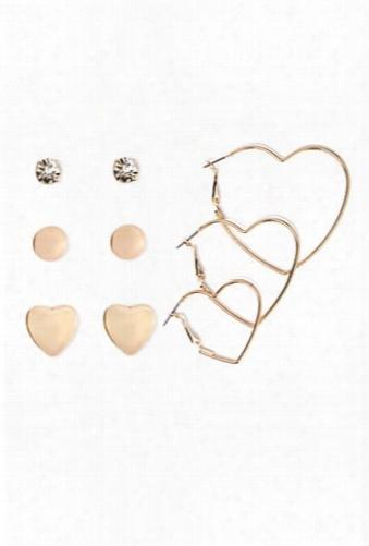 Heart Hoop & Stud Earring Set