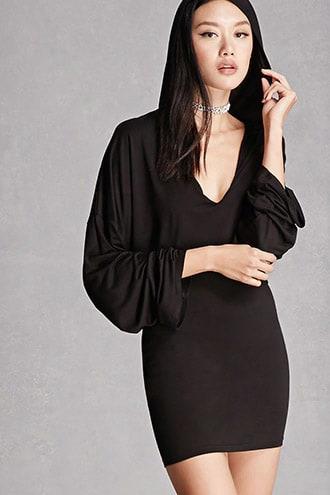 Hooded Layered Slub Knit Dress