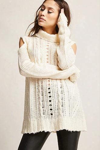 Open-shoulder Cable Knit Top