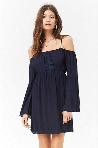 Open-shoulder Embroidered-trim Mini Dress