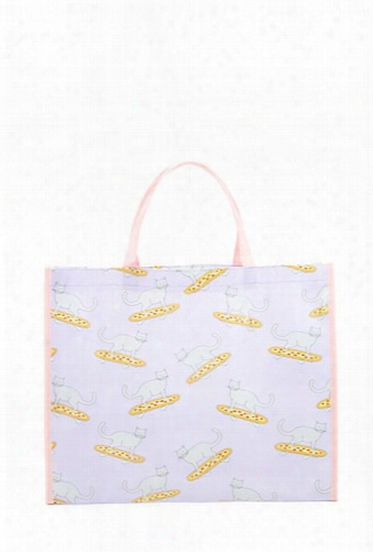 Pizza And Cat Print Tote Bag