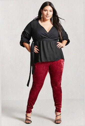 Plus Size Crushed Velvet Leggings