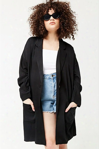 Plus Size Longline Single-breasted Blazer