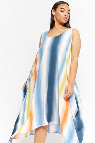 Plus Size Ombre Crescent Hem Dress