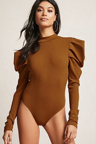 Ribbed Puff-shoulder Bodysuit