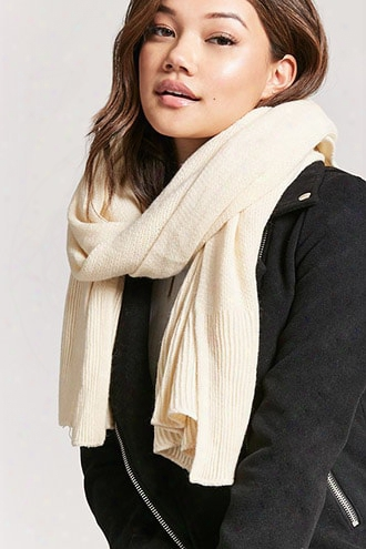 Ribbed-trim Oblong Scarf