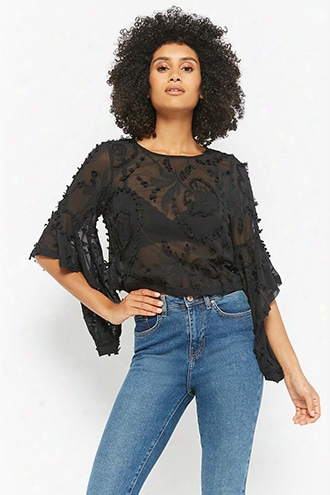 Sheer Embroidered Bell-sleeve Top