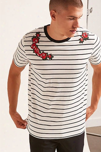 Striped Floral Appliquetee