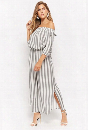 Striped Off-the-shoulder Jumpsuit
