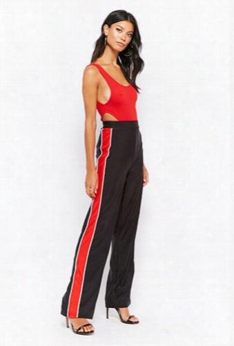 Striped-trim Wide-leg Pants
