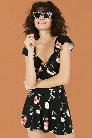 Floral Print Skater Skirt