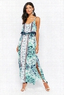 Layered Floral Print Maxi Dress