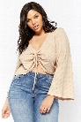 Plus Size Waffle Knit Tie-Front Crop Top