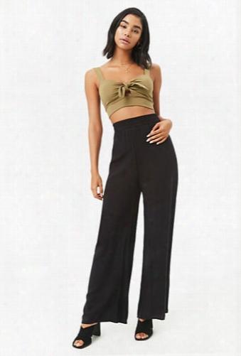 Wide-leg Smocked Waistband Pants