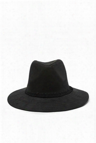 Braided-band Faux Suede Fedora
