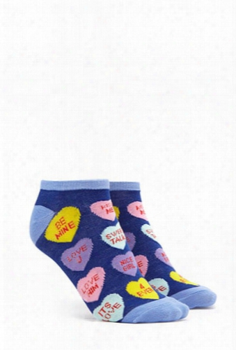 Candy Heart Print Ankle Socks