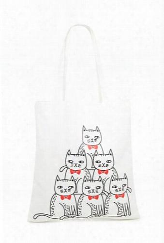 Cat Print Canvas Tote Bag