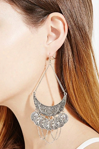 Chained Coin Drop Earrings