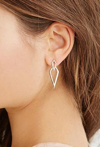 Diamond-shaped Cutout Ear Jackets