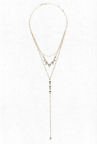 Faux Crystal Teardrop Necklace Set