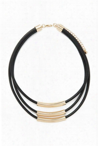 Faux Leather Layered Necklace