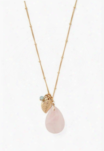 Faux Stone Feather Necklace