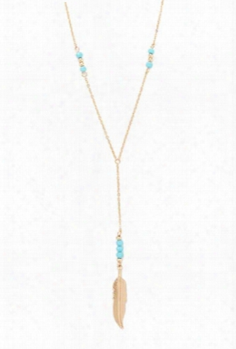 Feather Charm Y-neck Necklace