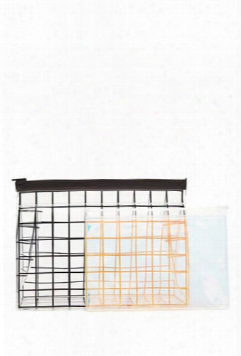 Grid Makeup Bag Set