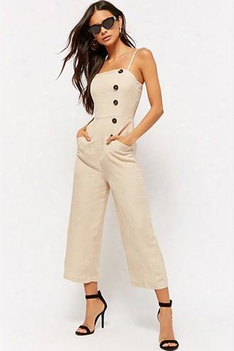 Linen-blend Culotte Jumpsuit