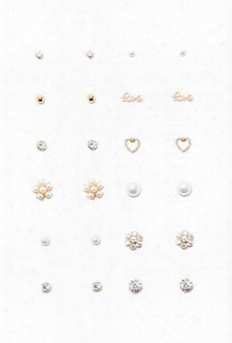 Love & Faux Pearl Stud Set