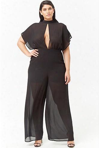 Plus Size Semi-sheer Cutout Jumpsuit