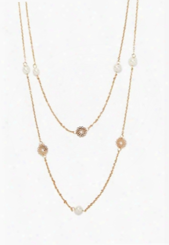 Stationed Faux Pearl Necklace