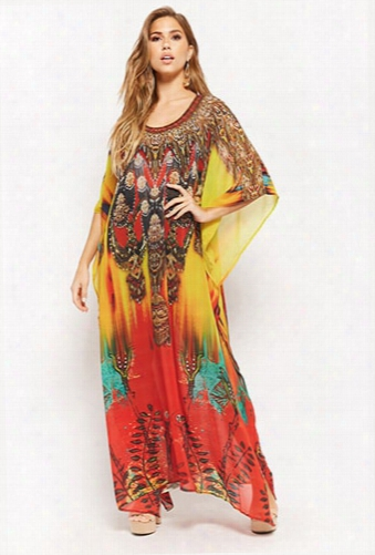 Abstract Rhinestone Maxi Dress