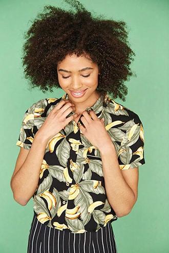Banana & Palm Leaf Print Shirt