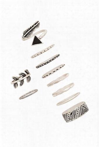 Burnished Feather Ring Set