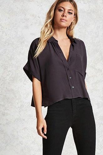 Crepe Cuffed Short-sleeve Shirt