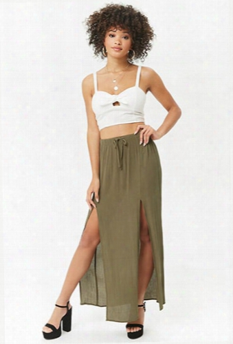 Crinkled M-slit Maxi Skirt