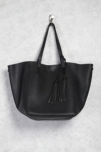 Faux Crinkled Leather Tote Bag