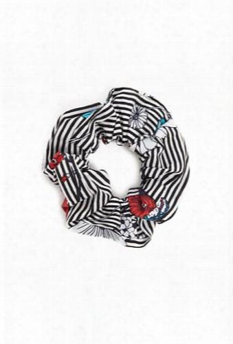 Floral Striped Scrunchie