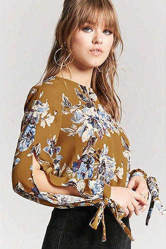 Floral Tie-sleeve Top