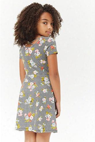 Girls Floral Gingham Crisscross Skater Dress (kids)