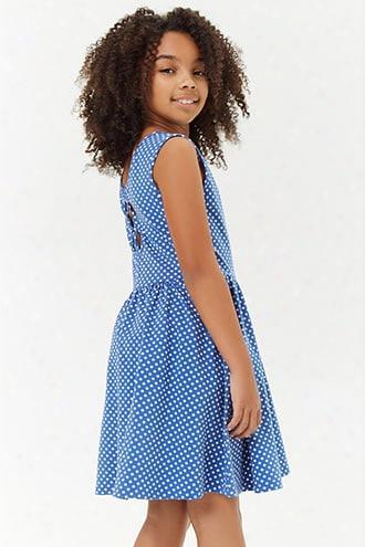 Girls Polka Dot Lace-up Cutout Skater Dress (kids)