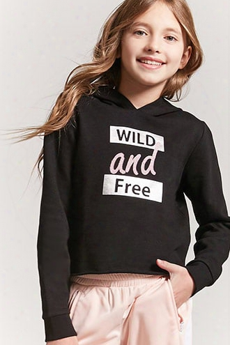 Girls Wild And Free Graphic Hoodie (kids)